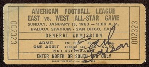 1963 AFL All-Star Game Ticket