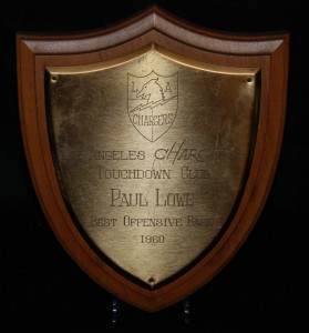 Paul Lowe 1960 Los Angeles Chargers Best Offensive Back Award