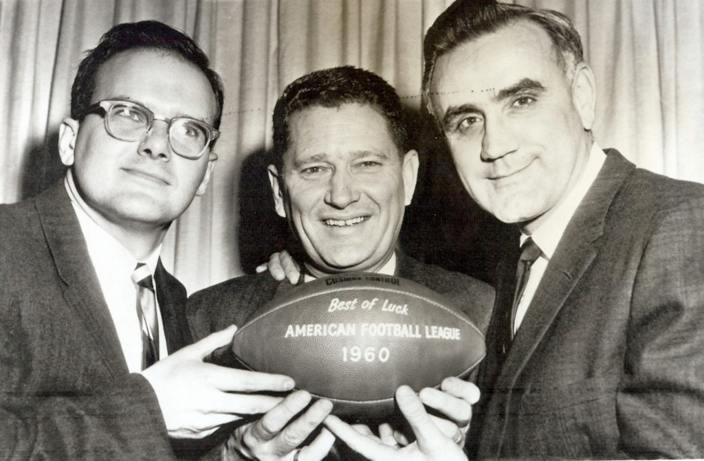 Lamar Hunt, Joe Foss and Don Rossi announce Dallas, Texas, will be the home of the AFL league offices.