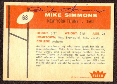 Autographed 1960 Fleer Mike Simmons