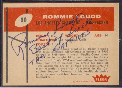 autographed 1960 fleer rommie Loudd