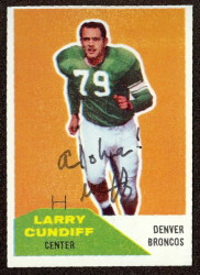 autographed 1960 fleer larry cundiff