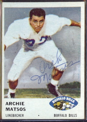autographed 1961 fleer archie matsos