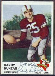 autographed 1961 fleer randy duncan
