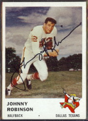 autographed 1961 fleer johnny robinson