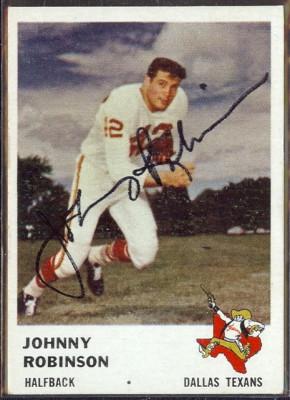 autographed 1961 fleer johnny robinson
