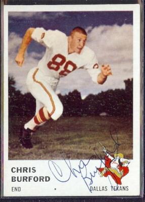 autographed 1961 fleer chris burford