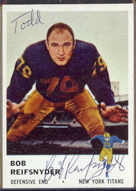 autographed 1961 fleer bob reifnyder