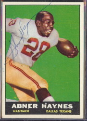 autographed 1961 topps abner haynes