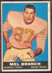 autographed 1961 topps mel branch