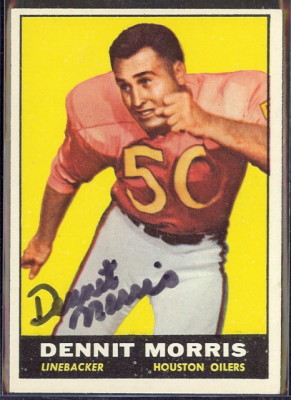 autographed 1961 topps dennit morris