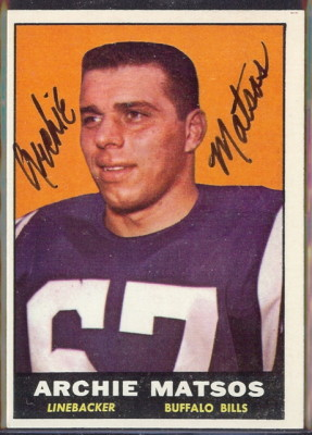autographed 1961 topps archie matsos