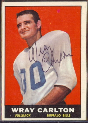 autographed 1961 topps wray carlton