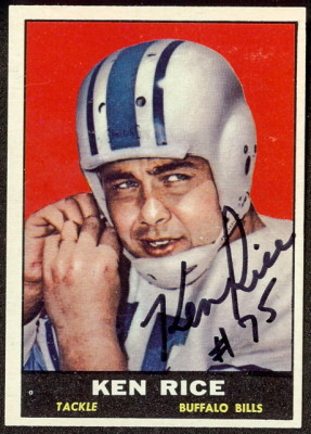autographed 1961 topps ken rice