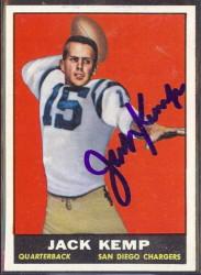 autographed 1961 topps jack kemp