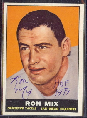 autographed 1961 topps ron mix
