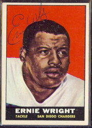 autographed 1961 topps ernie wright