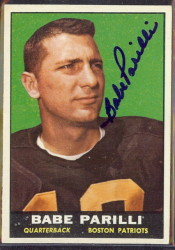 autographed 1961 topps babe parilli