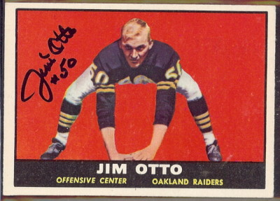 autographed 1961 topps jim otto