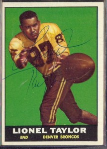 autographed 1961 topps lionel taylor