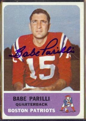 autographed 1962 fleer babe parilli