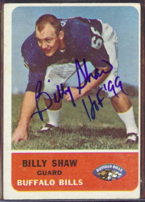 autographed 1962 fleer billy shaw