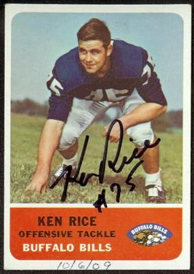 autographed 1962 fleer ken rice