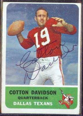 autographed 1962 fleer cotton davidson