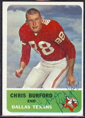 autographed 1962 fleer chris burford