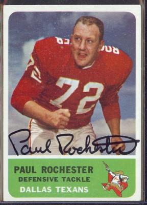 autographed 1962 fleer paul rochester