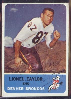 autographed 1962 fleer lionel taylor