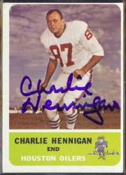 autographed 1962 fleer charlie hennigan