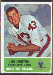 autographed 1962 fleer jim norton