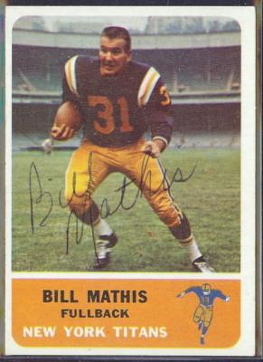 autographed 1962 fleer bill mathis
