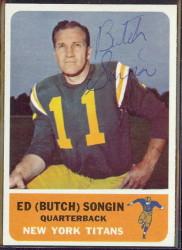 autographed 1962 fleer ed (butch) songin