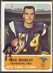 autographed 1962 fleer nick mumley