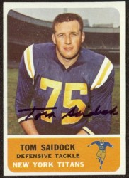 autographed 1962 fleer tom saidock