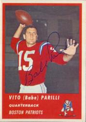 Autographed 1963 Fleer Vito (Babe) Parilli