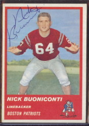 Autographed 1963 Fleer Nick Buoniconti