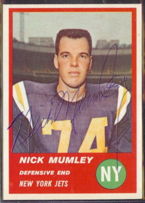 Autographed 1963 Fleer Nick Mumley