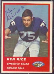 Autographed 1963 Fleer Ken Rice