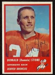 Autographed 1963 Fleer Donald (Donnie) Stone