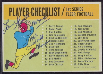 Autographed 1963 Fleer Checklist
