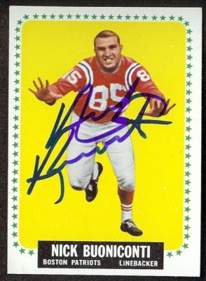 autographed 1964 topps nick bouniconti