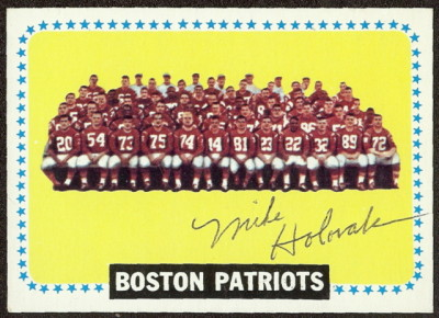 autographed 1964 topps partiots team mike holovak