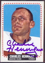 autographed 1964 topps charlie hennigan