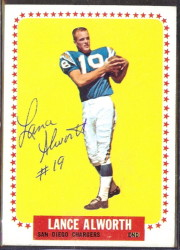 autographed 1964 topps lance alworth