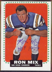 autographed 1964 topps ron mix