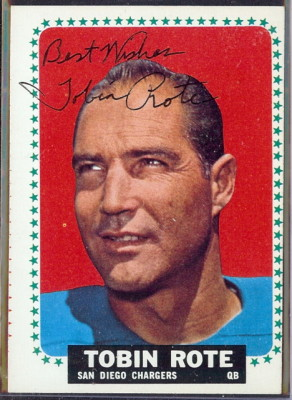 autographed 1964 topps tobin rote