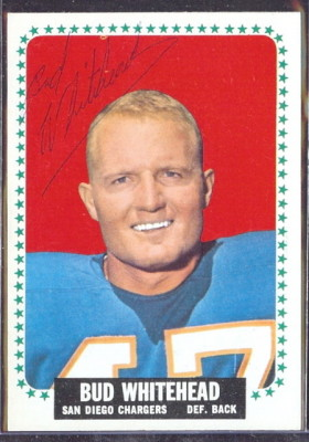 autographed 1964 topps bud whitehead